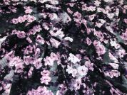 John Kaldor Floral Print Peachskin Dress Fabric  Pink & Black