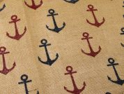 Anchor Print Jute Hessian Sacking Fabric  Red & Navy