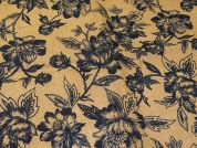 Floral Print Jute Hessian Sacking Fabric  Navy on Brown