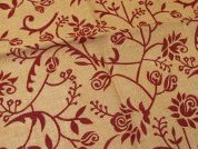 Floral Print Jute Hessian Sacking Fabric  Red on Brown