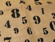 Numbers Print Jute Hessian Sacking Fabric  Brown