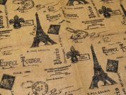 Paris Print Jute Hessian Sacking Fabric  Brown