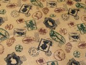 Stamps Print Jute Hessian Sacking Fabric  Brown