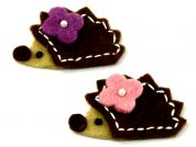 Habico Hedgehog Handmade Felt Embellishments  Brown