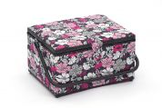 Hobby & Gift Floral Large Craft Storage Box  Fuchsia & Black