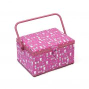Hobby & Gift Bobbin & Scissors Print Large Craft Storage Box  Pink