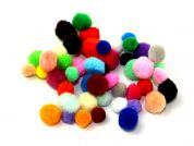 Mixed Size Plain Craft Pom Poms  Assorted Colours