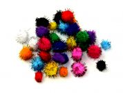 Mixed Size Lurex Craft Pom Poms  Assorted Colours