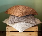 Hoooked DIY Knitting Kit Bulky Textures Cushion  Earth Taupe