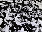 John Kaldor Floral Print Viscose Twill Dress Fabric  Black & Ivory