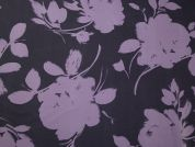 John Kaldor Floral Print Slinky Satin Dress Fabric  Purple & Navy
