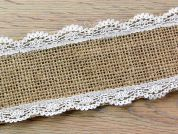 Hessian with Lace Edging Natural Ribbon