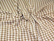Houndstooth Check Coat Weight Dress Fabric  Ivory & Camel