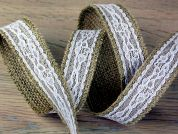 Hessian with Overlayed Lace Natural Ribbon
