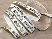 Musical Notes Music Print Natural Cotton Ribbon