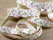 Pretty Floral Print Natural Cotton Ribbon
