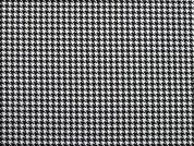 Hounds Tooth Check Polyester Suiting Dress Fabric  Black & White