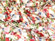 English Garden Floral Print Jardin Stretch Cotton Sateen Dress Fabric  Multicoloured