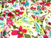 Fluorescent Floral Print Jardin Stretch Cotton Sateen Dress Fabric  Multicoloured