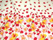 Floral Border Print Jardin Stretch Cotton Sateen Dress Fabric  Pink