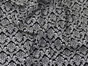 Baroque Print Jardin Stretch Cotton Sateen Dress Fabric  Black & Ivory