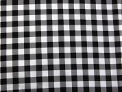 Gingham Check Print Jardin Stretch Cotton Sateen Dress Fabric  Black & White