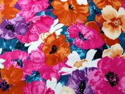 Floral Print Jardin Stretch Cotton Sateen Dress Fabric  Multicoloured