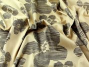 Floral Print Stretch Cotton Sateen Dress Fabric  Beige & Brown