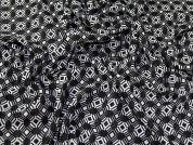 John Kaldor Geometric Monochrome Print Chiffon Dress Fabric  Black & White
