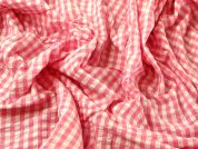 Gingham Check Cotton Seersucker Dress Fabric  Pink