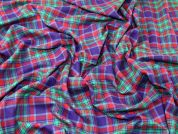 Plaid Check Soft Brushed Flannel Dress Fabric  Purple, Red & Green