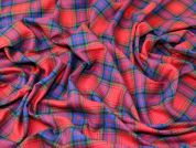 Plaid Check Soft Brushed Flannel Dress Fabric  Red & Blue