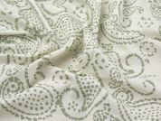 Hand Printed Paisley Batik Cotton Dress Fabric  Cream & Sage Green