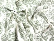 Hand Printed Floral Batik Cotton Dress Fabric  Cream & Sage Green