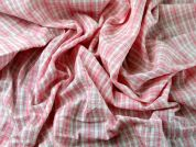 Plaid Check Cotton Seersucker Dress Fabric  Pink