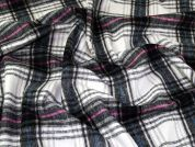 Plaid Check Coating Weight Dress Fabric  Grey & Ivory
