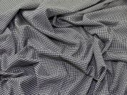 Tiny Houndstooth Polyester, Viscose & Spandex Stretch Suiting Dress Fabric  Black & White