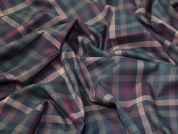 Plaid Check Polyester, Viscose & Spandex Stretch Suiting Dress Fabric  Navy Multi