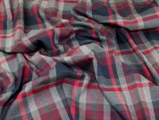 Plaid Check Polyester, Viscose & Spandex Stretch Suiting Dress Fabric  Grey Multi