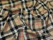 Plaid Check Polyester, Viscose & Spandex Stretch Suiting Dress Fabric  Beige Multi