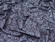Floral Design Denim Look Stretch Jersey Knit Dress Fabric  Indigo Blue