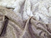 Leopard Print Faux Suede Backed Fur Dress Fabric  Cream & Beige