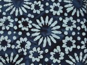 Floral Hand Printed Batik Cotton Dress Fabric  Blue
