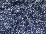 Hand Printed Floral Batik Cotton Dress Fabric  Indigo