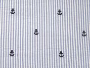Anchors Embroidered Cotton Seersucker Dress Fabric  Blue