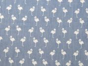 Flamingo Print Cotton Chambray Dress Fabric  Sky Blue
