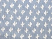 Cactus Print Cotton Chambray Dress Fabric  Sky Blue