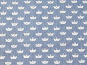 Boat Print Cotton Chambray Dress Fabric  Sky Blue