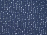 Arrows Print Stretch Chambray Denim Dress Fabric  Blue