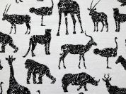 Animals Print Poly Cotton Canvas Dress Fabric  Black & White